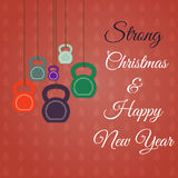 Cartolina d'auguri del nuovo anno e di Natale con i kettlebells Immagini Stock Libere da Diritti