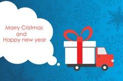 Cartolina d'auguri del nuovo anno e di Natale con il furgone di consegna del regalo con lo spazio della copia Illustrazione di ve fotografia stock