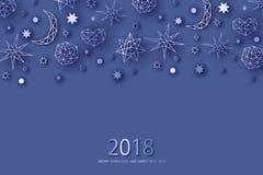 Cartolina d'auguri del nuovo anno e di Natale, invito Fotografia Stock