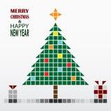 Cartolina d'auguri del nuovo anno e di Natale nel retro stile Immagine Stock Libera da Diritti