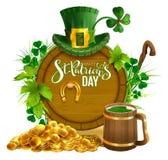 Cartolina d'auguri del testo del partito di giorno del ` s di St Patrick Monete di oro, birra di legno della tazza e del barilott Immagine Stock