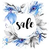 Cartolina d'auguri dell'acquerello con la magnolia di fioritura dei fiori illustrazione di stock