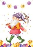 Cartolina d'auguri dell'acquerello con lo gnomo, lanterna, cristalli illustrazione di stock