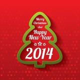 Cartolina d'auguri dell'albero di Buon Natale. 2014. Fotografia Stock Libera da Diritti