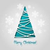 Cartolina d'auguri dell'albero di Buon Natale Progettazione di carta Immagini Stock Libere da Diritti