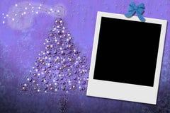Cartolina d'auguri dell'albero di Natale con il blocco per grafici istante Fotografie Stock Libere da Diritti