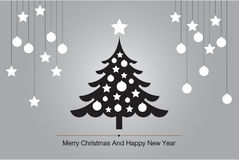 Cartolina d'auguri dell'albero di Natale con il vettore della siluetta per l'illustrazione del fondo Fotografia Stock