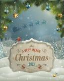 Cartolina d'auguri dell'annata di Natale Fotografie Stock Libere da Diritti
