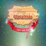 Cartolina d'auguri dell'annata di Natale - insegna di legno Fotografie Stock Libere da Diritti