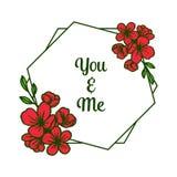 Cartolina d'auguri dell'illustrazione di vettore voi e me con la struttura rossa della corona del materiale illustrativo illustrazione vettoriale