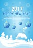 Cartolina d'auguri dell'insegna del nuovo anno di Buon Natale del villaggio della Casa Bianca Fotografia Stock Libera da Diritti