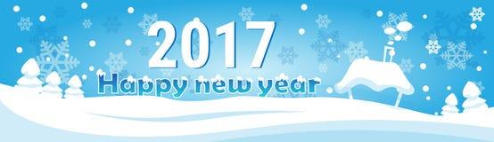 Cartolina d'auguri dell'insegna del nuovo anno di Buon Natale del villaggio della Casa Bianca Fotografia Stock