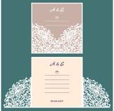 Cartolina d'auguri dell'invito o di nozze con l'ornamento astratto Immagini Stock