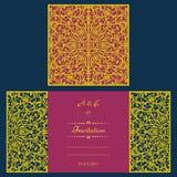 Cartolina d'auguri dell'invito o di nozze con l'ornamento astratto Immagine Stock