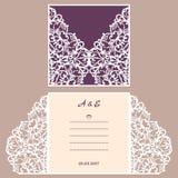 Cartolina d'auguri dell'invito o di nozze con l'ornamento astratto Modello della busta di vettore per il taglio del laser Carta d Fotografia Stock Libera da Diritti