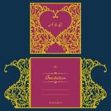 Cartolina d'auguri dell'invito o di nozze con l'ornamento astratto Modello della busta di vettore per il taglio del laser Carta d Immagini Stock