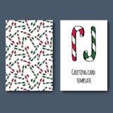 Cartolina d'auguri della canna del caramello Fotografia Stock
