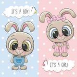 Cartolina d'auguri della doccia di bambino con i conigli ragazzo e ragazza Immagini Stock