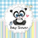 Cartolina d'auguri della doccia di bambino con il panda del fumetto illustrazione di stock