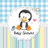 Cartolina d'auguri della doccia di bambino con il pinguino Fotografie Stock Libere da Diritti