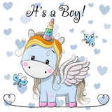 Cartolina d'auguri della doccia di bambino con il ragazzo sveglio dell'unicorno illustrazione di stock