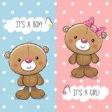 Cartolina d'auguri della doccia di bambino con Teddy Bears Fotografia Stock