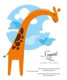 Cartolina d'auguri della giraffa Immagine Stock