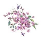 Cartolina d'auguri della molla dell'acquerello, mazzo floreale d'annata con il perno illustrazione vettoriale