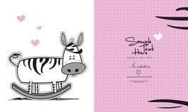 Cartolina d'auguri della zebra con il posto per il vostro testo Immagini Stock