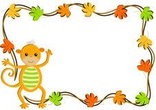 Cartolina d'auguri delle foglie e della scimmia Fotografie Stock
