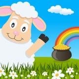 Cartolina d'auguri delle pecore di giorno del ` s di St Patrick Immagini Stock