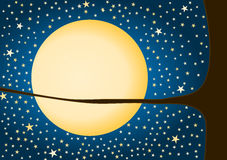 Cartolina d'auguri delle stelle e della luna Fotografie Stock