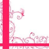 Cartolina d'auguri dentellare con la farfalla e le arricciature Immagini Stock Libere da Diritti