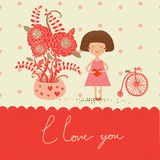 Cartolina d'auguri di amore Immagini Stock
