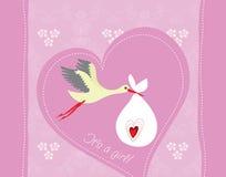 Cartolina d'auguri di arrivo della neonata Immagini Stock Libere da Diritti