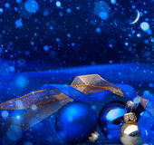 Cartolina d'auguri di Art Blue Christmas Fotografie Stock Libere da Diritti