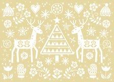 Cartolina d'auguri di arte di piega di Natale con la renna, i fiori, l'albero di natale ed il modello dei vestiti di inverno nel  illustrazione vettoriale