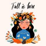 Cartolina d'auguri di autunno con la ragazza che indossa una corona stagionale Immagine Stock Libera da Diritti
