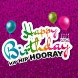 Cartolina d'auguri di buon compleanno hip hip hip hurrà Fotografie Stock