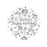 Cartolina d'auguri di buon compleanno - illustrazione di vettore Immagini Stock