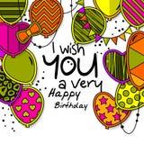 Cartolina d'auguri di buon compleanno Palloni modellati con le stelle, pois, cuori, leopardo, galloni, bande colorful illustrazione vettoriale