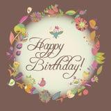Cartolina d'auguri di buon compleanno struttura floreale del cerchio Fotografie Stock