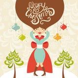 Cartolina d'auguri di Buon Natale con bella signora Immagine Stock