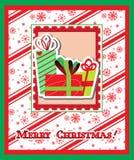 Cartolina d'auguri di Buon Natale con i presente Fotografia Stock