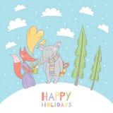 Cartolina d'auguri di Buon Natale con il lupo e la volpe Fotografie Stock Libere da Diritti