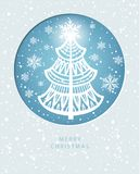 Cartolina d'auguri di Buon Natale con il pino royalty illustrazione gratis