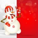 Cartolina d'auguri di Buon Natale con il pupazzo di neve sveglio del fumetto royalty illustrazione gratis