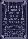 Cartolina d'auguri di Buon Natale con la linea colore di art deco del giocattolo del nuovo anno di bianco di stile Fotografia Stock