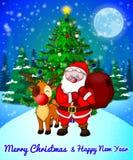 Cartolina d'auguri di Buon Natale con Santa sveglia e cervi di cristmas sul fondo dei fiocchi di neve e della foresta illustrazione di stock