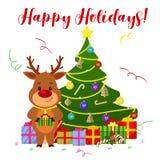 Cartolina d'auguri di Buon Natale e del buon anno Un cervo sveglio con una campana al collo sta stando accanto all'albero di Nata illustrazione di stock